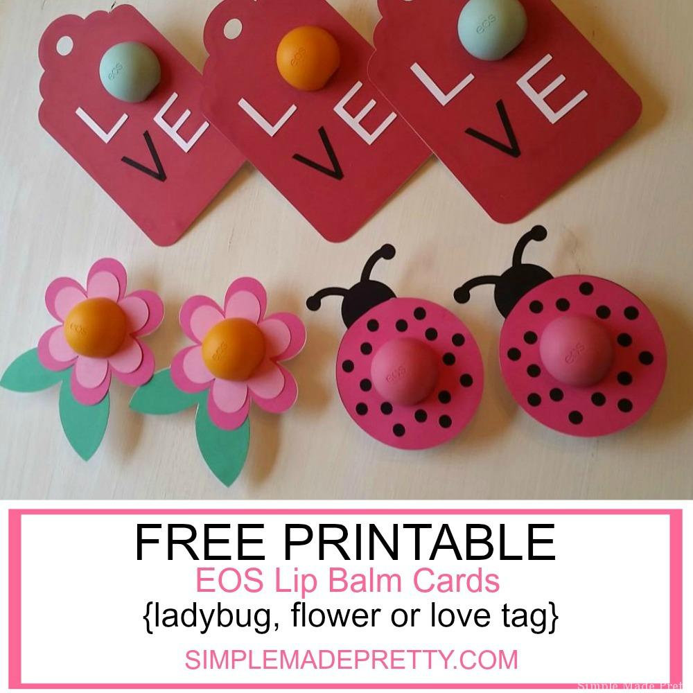 graphic regarding Printable Teacher Valentine Cards Free named Flower, Ladybug and Appreciate Tag EOS Lip Balm Playing cards as Electronic