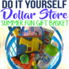 This is a cute and fun idea for kids during summer! If you are looking for a summer gift basket idea, check out this easy dollar store DIY gift idea! My kids loved putting this summer gift basket together for the neighbors!