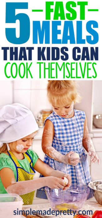 It's never too early to start teaching your children how to make meals in the kitchen. Here are 5 Fast Meals That Kids Can Cook Themselves. These meals are so easy that a five-year-old can make them! easy recipes for kids to make for dinner | lunch box recipes | easy recipes for kids to make at school lunch boxes | recipes for kids to cook | Easy meals kids can cook