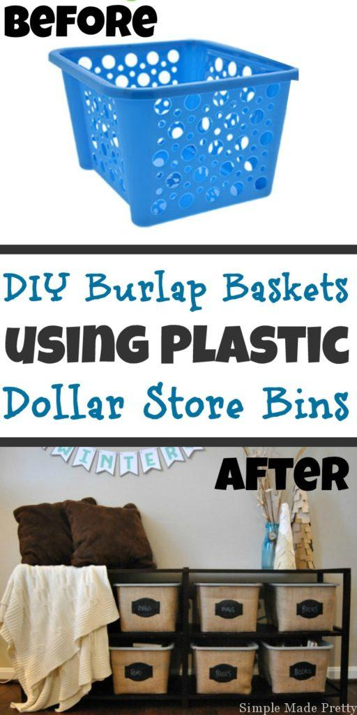 Burlap fabric DIY project, DIY Dollar Store baskets, Dollar Tree, Dollar Store, DIY burlap fabric, burlap fabric projects, burlap fabric craft projects, Dollar store basket makeover, how to make dollar tree binds look like they are pier one, how to make dollar tree bins look like pier 1, dollar tree pantry organization ideas, DIY storage bin, DIY basket, DIy Boxes, DIY dollar tree home decor