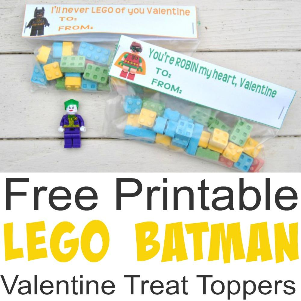 image relating to Lego Batman Printable called Totally free Printable Lego Batman Valentine Take care of Toppers - Very simple