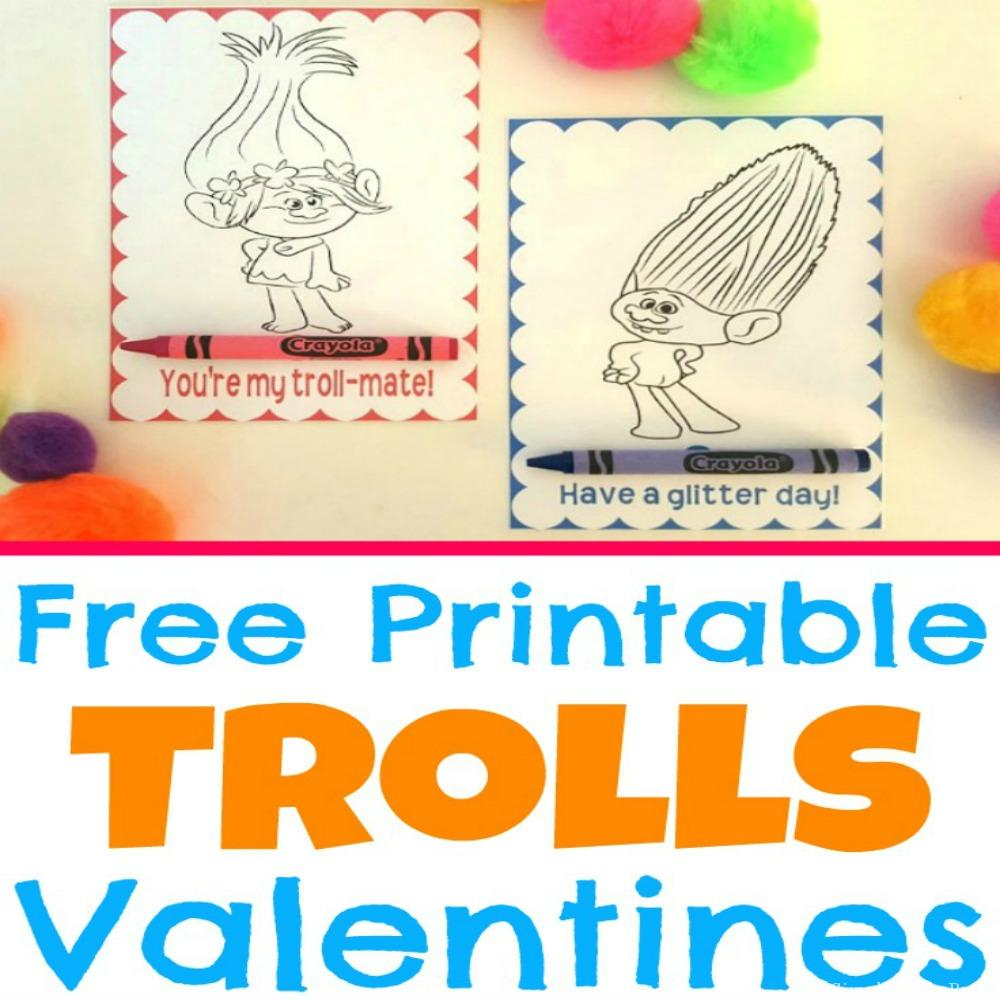 Free Printable Trolls Movie Valentine Coloring Cards   Simple Made Pretty