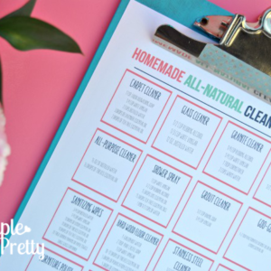 This free printable homemade cleaning product cheat sheet is really helpful! We no longer buy cleaning supplies because we use the DIY cleaning recipes on this sheet! It's a must-have for homemaking!
