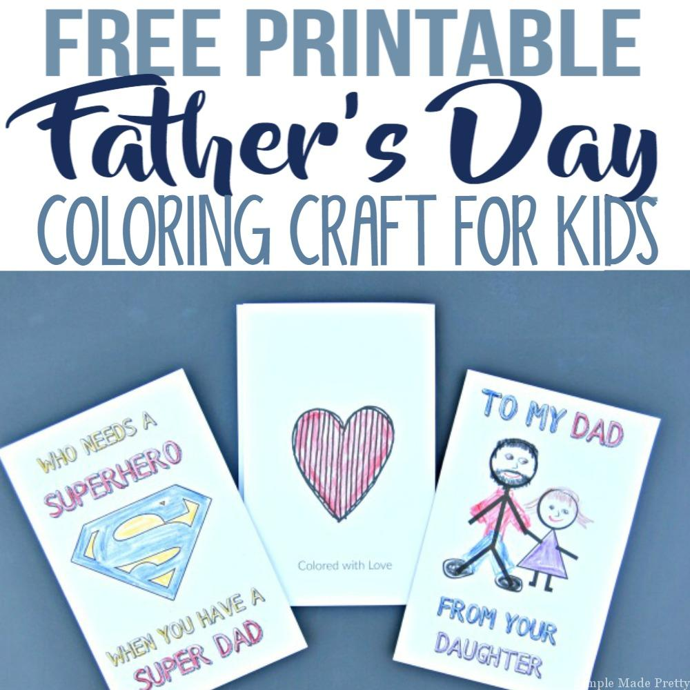 photograph regarding Father's Day Printable Card identified as No cost Printable Fathers Working day Greeting Playing cards Coloring Craft
