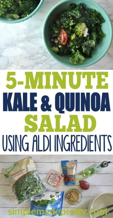 This kale salad dressing recipe is the best I've ever tasted! I can make this kale salad in 5 minutes are less and the dressing is so much healthier than store-bought dressing! I make this salad for parties and holiday dinners and it's always a hit! All the ingredients can be found at Aldi which makes it a cheap but healthy recipe!
