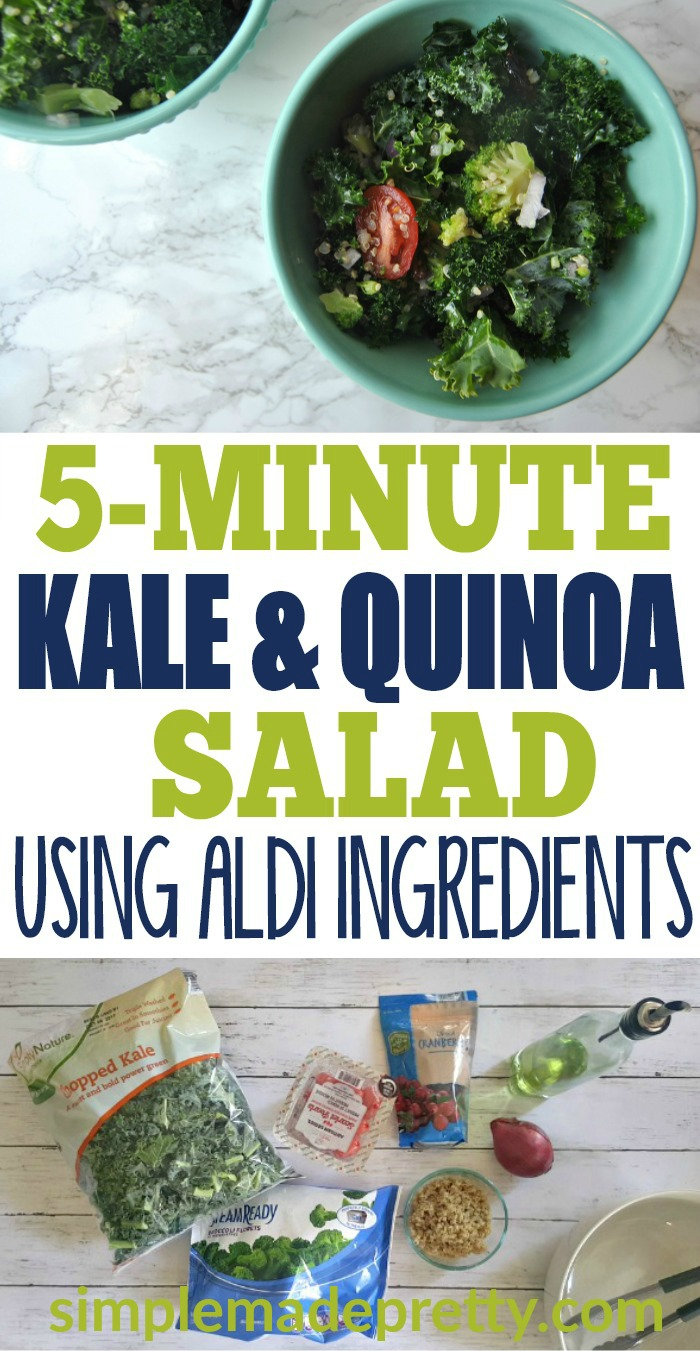 This kale salad dressing recipe is the best I've ever tasted! I can make this kale salad in 5 minutes are less and the dressing is so much healthier than store-bought dressing! I make this salad for parties and holiday dinners and it's always a hit! All the ingredients can be found at Aldi which makes it a cheap but healthy recipe! #kalesaladrecipe