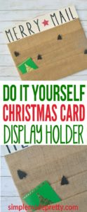 This is an easy DIY idea to organize all those Christmas cards! I made this Christmas Card display holder in less than an hour and all you need is a scrap wood board and burlap fabric. I added a Merry Mail sign to mine to give it the finishing touch. Watch the video to learn how to make this Christmas craft and home decor idea!