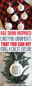 These DIY Rae Dunn Christmas Ornaments were so easy to make! She used clear plastic ornaments filled with paint and vinyl cut with a Cricut explore machine. She even has the free image to download and the font and size to make these Rae Dunn inspired Christmas decor yourself!