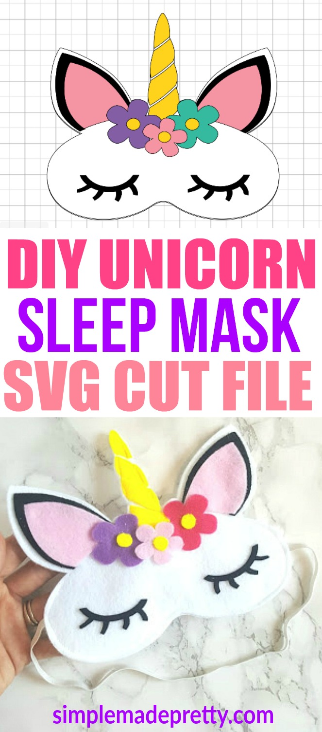 This DIY Unicorn sleep mask is perfect for unicorn Birthday parties, favors or a girl's sleepover party. This felt craft idea used a Cricut Maker Machine to cut the felt and sew together. This is a great beginner sewer or beginner cricut. It can also be used for a unicorn costume with matching unicorn pajamas!