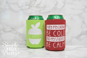 DIY Teacher Koozie Gift with Fee SVG Cut File