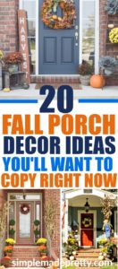 These fall porch decorations are easy to replicate and these fall outdoor decorating ideas will inspire you to decorate your front porch for fall! Most of these fall porch ideas feature pumpkins, fall colors, fall fabrics, fall flowers, and other fall porch decorating ideas to give you inspiration for your home! fall decor ideas diy dollar stores | fall decor ideas diy front doors | fall decor ideas diy autumn | fall decor ideas for the home | fall decor ideas for the porch | rustic fall decor ideas | rustic fall decor ideas for the porch | rustic fall decor ideas for the porch #falldecor #pumpkindecor #pumpkinspice #fallporchideas #fallfrontporch #fallporchdecor #fallporchideas