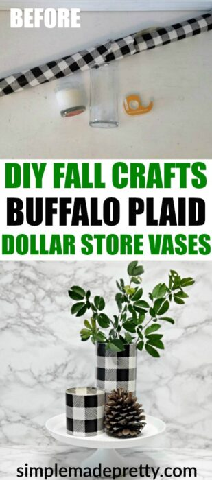 Learn how to make theseDIY Dollar Store Crafts Buffalo Plaid Black and White using Dollar Tree Vases to instantly update your Fall decor. buffalo plaid baby shower ideas, dollar store Christmas crafts, buffalo check Fall decor, buffalo check Christmas decorations, buffalo check Christmas black and white, buffalo plaid decor black and white #5minutecrafts #dollarstorecrafts #buffaloplaiddecor