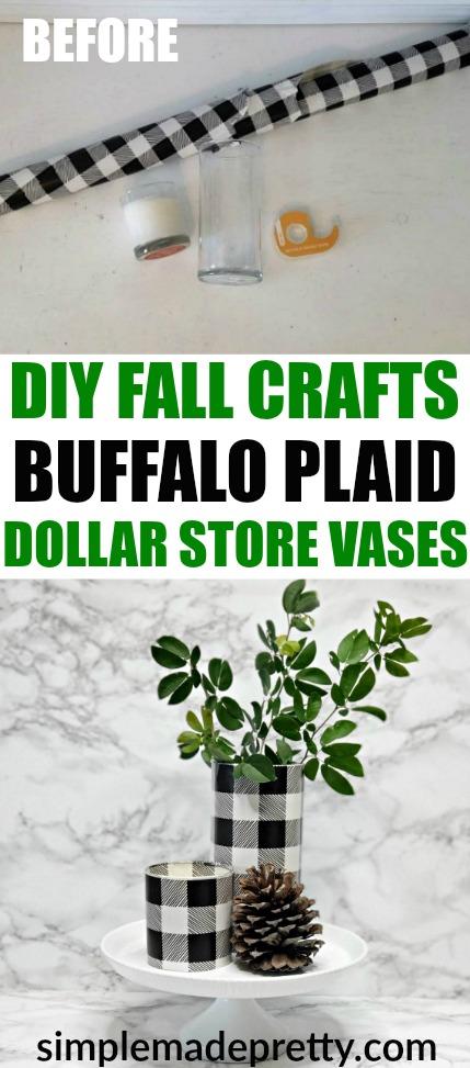 Diy Dollar Store Buffalo Plaid Vases Simple Made Pretty