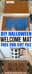 I love this easy DIY Halloween decor idea! Learn how to use your Cricut Explore to make a DIY welcome mat door mat and a funny Halloween welcome mat! Halloween welcome signs front porches | Halloween Welcome mat | diy home decor on a budget | DIY home decor dollar store #fallfrontporchdecor #halloweendecorideas #halloweenhomedecor #cricutcraftideas #cricutsvgfiles