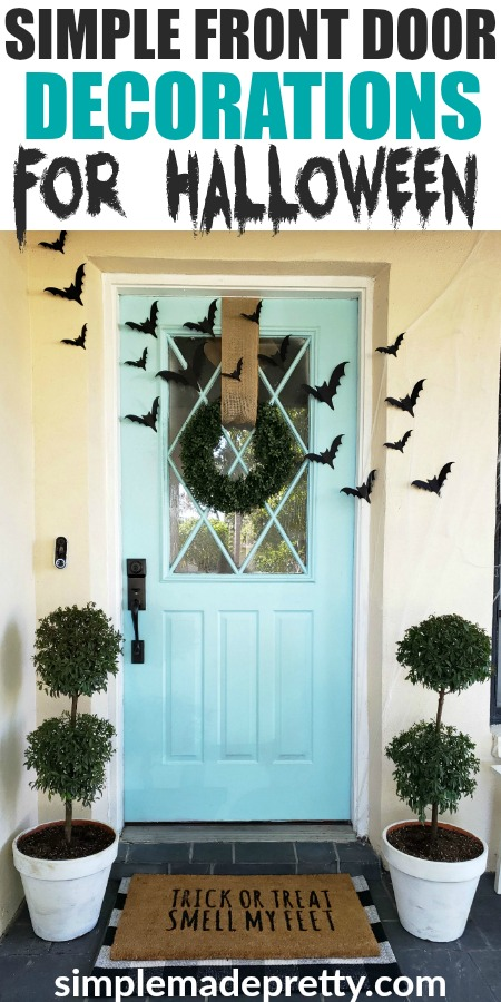 Keep your Halloween front door decorations simple this year while creating spookyHalloween decorations for your Fall front door. These are creative ideas forhomemade Halloweendecor that's alsocheap Halloween decor and goes with ateal blue front door. The result isSimple Halloween Front Porch Decor that adds the perfect touch of Halloween outdoor decorations. Keep reading for how I updated our Fall front door decorations in under an hour! #halloweenfrontporchdecor #DIYHalloweendecor