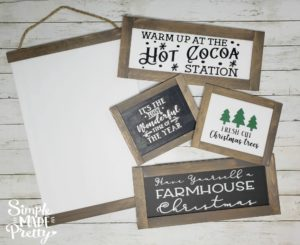 You wouldn't believe these farmhouse signs are made using dollar store items! DIY Farmhouse decor dollar store, DIY Dollar Store Christmas Decor, DIY Dollar Store Crafts, Dollar store DIY decor, DIY Farmhouse sign, DIY farmhouse sign Cricut, DIY farmhouse sign tutorial, Farmhouse style signs