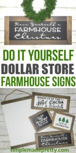 You wouldn't believe these farmhouse signs are made using dollar store items! DIY Farmhouse decor dollar store, DIY Dollar Store Christmas Decor, DIY Dollar Store Crafts, Dollar store DIY decor, DIY Farmhouse sign, DIY farmhouse sign Cricut, DIY farmhouse sign tutorial, Farmhouse style signs, DIY Christmas decorations #dollarstorecrafts #diyfarmhousesigns #dollarstorechristmas