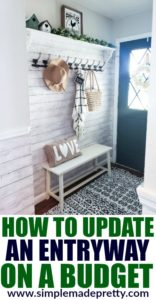 See how we updated our small entryway on a budget and check out the before and after pictures! Decorate A Small Entryway with Bench and Hooks, entryway door, entryway storage bench, storage benches, entryway ideas, entryway rugs, entryway rug, small entryway bench, entryway mirror, home entryway ideas, entryway table decor, entryway ideas with bench, entryway decor farmhouse, entryway decor with bench, entryway decor small entrance, entryway bench small decorating ideas #entrywaydecor