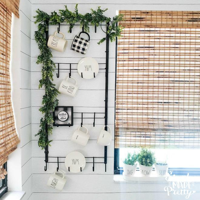 Dollar Tree Farmhouse Wall-Mounted Mug Rack DIY