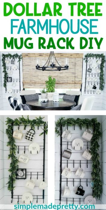 Dollar Tree Farmhouse Wall-Mounted Mug Rack DIY